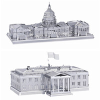 Wholesale 3d House Toy - DIY Metal Works Model Kits 3d Laser Cut Jigsaw Puzzle Toy Landmark Building US Capitol and US White House