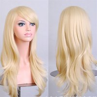 Wholesale Anime Girl Pink Curly Hair - Harajuku Cosplay wigs anime party long curly heat resistant Synthetic hair Blonde wig peruca women Perruque 70cm halloween wigs