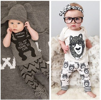 Wholesale Little Boy Wholesale Clothes - 2016 summer style infant clothes baby clothing sets boy Cotton little monsters short sleeve 2pcs suit baby boy kids clothes LH16