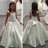 Wholesale Elegant Gowns For Little Girls - Elegant 2017 Spahetti Straps Little Flower Girls' Dresses for Wedding Party Sequins Beaded Pleats Kids Ball Gowns A Line Satin with Big Bow
