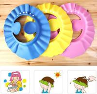 chapeau bébé réglable achat en gros de-Doux Bébé Enfants Shampooing Bain Bonnet De Douche Enfants Bonnet De Bain Visière Réglable Chapeau Laver Bouclier Cheveux avec Bouclier D'oreille Chapeaux KKA3276