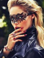 ingrosso maschere di taglio laser nero-Etang Spedizione gratuita nero veneziano in metallo filigrana taglio laser maschera mascherata con cristalli MMAK020