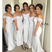 uzun nedime elbiseleri kısa kollu dantel toptan satış-Seksi Kapalı Omuz Uzun Dantel Bridemaids Elbiseler Kılıf Örgün Abiye giyim Düğün Parti Gelinlik için Gelinlik Kısa Kollu Ucuz