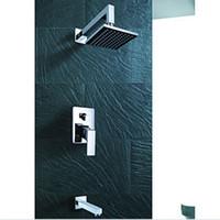 """Wholesale Square Tap Set - Wholesale And Retail Promotion Luxury Bathroom 8"""" Rainfall Shower Faucet Tub Mixer Tap 3PCS Shower Set Chrome"""