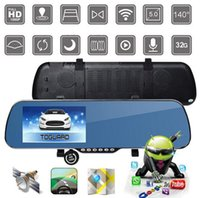 Car HD DVR 5 '' Touch Screen Android GPS Navi carro traço Cam Dual Lens DVR WIFI Espelho Retrovisor Recorder