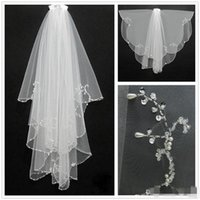 Wholesale Bridal Veils Crystals - New Fashion White Ivory 2016 Short Two Layers With Comb Bridal Veils Wedding Accessories Free Shipping Beaded Edge Crystal Fashion