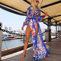 couvrir robe fleur achat en gros de-Gros-2015 été femmes maillot de bain sexy couvrir mousseline plus la taille maillots de bain bikini couvrir Ups robe de fleurs longue plage couvrir jusqu'à