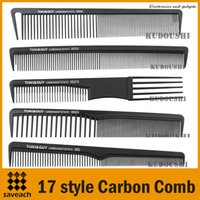 Wholesale Comb Hair Carbon - Wholesale - 14 Style Carbon Anti Static comb, Fine Cutting Grip Comb, Winding Tail Comb Free Shipping