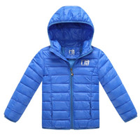 Wholesale Coat Feathers For Kids - 2015 Baby Girls Winter Coats Solid Down Parkas Zipper Hooded Thick Kids Winter Jacket For Children Warm Girls Clothing 4-8years