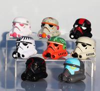 Wholesale Stormtrooper Helmets - hot sale Star Wars helmet Clone Trooper Stormtrooper PVC Action Figure Model Toy 5cm 8pcs set Free shipping