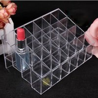 Wholesale-Plastic Clear Trapezoid Lipstick Holder 24 carré Grid Cosmetic Box Brush Stand Rack Tidy Organizer