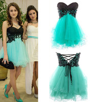 Wholesale cheap purple corset mini dresses - Sexy Short Prom Homecoming Dresses Lace Appliques Corset Sweetheart Mini Mint Green Bridesmaid Party Cocktail Gowns 2015 Cheap Under 100