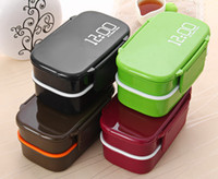 Japan Style Double Tier Bento Lunch Box Set Meal Utensílios de mesa Forno de microondas com classificação de alimentos PP / PS Inclui bônus de garfo de colher 1410ml Hot + B