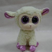 Wholesale Cute Animals Big Eyes - Wholesale-IN HAND TY BEANIES BOOS SERIES STUFFED ANIMAL BIG EYES Glitter eyes~DARIA~the sheep lamb~15cm NO HEART TAG Cute Plush doll