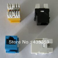 Wholesale Rj45 Jacks - Wholesale-Free shipping 180 degree UTP RJ45 cat6 keystone jack with gold plated