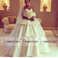 Wholesale Taffeta Floor Length Skirts - 2016 Ball Gown Taffeta Wedding Dresses Floor Length Tiered Skirt Custom Made Ivory Bridal Gowns Sleeveless Sexy African Wedding Gowns