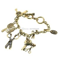 Wholesale Hair Stylist Charms - Fashionable Clear Crystals Stud the Scissors Comb Mirror Brush Hair Dryers Bracelet Free Shipping Cute Hair Stylist Charm Bracelet