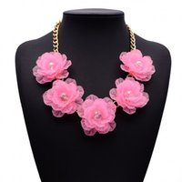 Wholesale Resin Neon Necklace - Acylic Brand Designer 2015 New Fashion Summer Style Neon Assorted Color Flower Clustered Choker Statement Necklace for Women Jewelry
