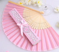 Wholesale bridal shower cheap - 100pcs lot popular Bridal shower favors cheap silk fan wedding favors, 16 kinds of color can choose, free shipping
