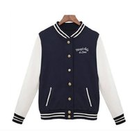 Wholesale Womens High Collar Coats - Wholesale-High Quality Fashion Womens Baseball Uniforms Stand Collar Casual Coat Jacket Sweater DM#6