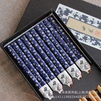 Cheap Japanese Tableware Sets   Japanese Chopsticks Set 5 Pairs Bamboo  Chopsticks Tableware Gift Box Blue