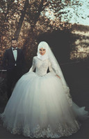 Wholesale Long Sleeved Vintage Wedding Dresses - Ball Gown Muslim Wedding Dresses Long Sleeved 2016 Spring Summer Lace Appliques Bodice Fluffy Skirt Cheap Wedding Dresses Bridal Gowns