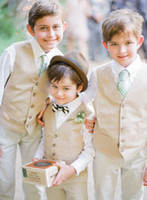 Wholesale Beach Clothes - Wholesale-New 2015 Beach Boys Wedding With Clothes With Shirt + Pants + Vest+ Tie Nicely Kids Tuxedo Suits Cheap Formal Clothing