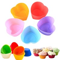 Wholesale Heart Shaped Cupcake Liners - Round Star Heart shape Silicone Muffin Cupcake Mould Case Bakeware Maker Mold Tray Baking Cup Liner Baking Molds