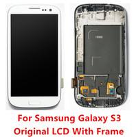 i747 lcd toptan satış-Yüksek Kaliteli A + LCD Dokunmatik Ekran Digitizer Için Çerçeve Ile Samsung Galaxy S3 i9300 T999 i747 i535 i9305