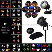 Atacado- Festa de Natal LED Projetor Light 12pcs Comutável Slides / Padrões Luz decorativa para o Dia das Bruxas LED Waterproof Outdoor Laser