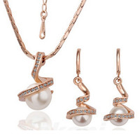 Wholesale Twisted Pearl Rhinestone Necklace - 18K Gold Plated Pearl Necklace Earrings Sets Spiral Pearl Twist Snake Shape Jewelry Sets For Women Fashion Jewelry 1025