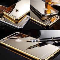 novo estojo rígido de metal alumínio venda por atacado-Novo luxo ouro gloss case para iphone 6 6 plus 5.5 polegada de metal duro de alumínio ultrafino tampa do espelho para iphone 6 plus