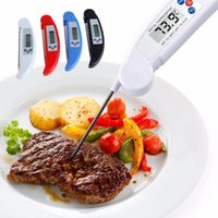 Wholesale electronic kitchen baking - Folding Probe Barbecue Thermometer Kitchen Oven Cooking Food Electronic Probe Thermometer Barbecue Meat Baking Thermometers OOA3465