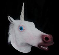 máscara de cabeza unicornio espeluznante al por mayor-Nueva Fashional Creepy Unicorn Horse Máscara Head Disfraz de Halloween Party Theatre Prop Novedad Latex Caucho 60 unids / lote