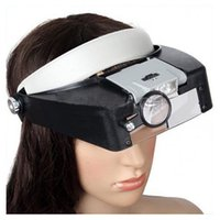 New 10X Lighted Magnifying LED de vidro Cabeça Headband Magnifier Lupa W / Sunshield # 12341 A3