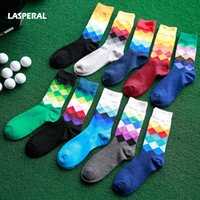 Wholesale American Color Socks - Wholesale- LASPERAL Men's Socks 1Pair Gradient Color Middle Length Casual Socks England And American Style Women Cotton Socks Spring Autumn