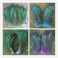 Wholesale Peacock Wedding Supplies - Wholesale Price! 50pcs lot Sword Peacock On both sides Feather vase decoration DIY wedding decoation festival supplies craft feather