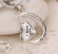 Wholesale MIC Europe and America New Antique silver Silver Plated Crescent Moon Heart Charm I Love You to the Moon And Back Necklace