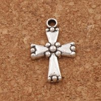 Dots End Cross With Dots on Charm Beads 120pcs / lot 13.8x21.3mm Tibetan Silver Pendants Fashion Jewelry DIY L486