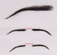 Wholesale Eyebrow Human - Wholesale-Free shipping for Eyebrows Eyebrow Kit 2015 New Style Human Hair Hand Made Eyebrow Invisible Swiss Lace In Stock