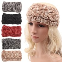 Wholesale Crochet Head Wrap Wholesale - Fashion Women Wool Crochet Headbands Knit Hair Band Lady Girl Bohemian Head Wraps Hair Accessories Autumn Winter Ear Warmer Headwear