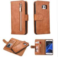 çok fonksiyonlu telefon cüzdanları toptan satış-Çok İşlevli Fermuar Cüzdan Kılıf Samsung Galaxy S8 S8 Artı S7 S7 kenar J5 J3 J7 2017 A3 A7 A5 2017 Telefon Kılıfı Kapak