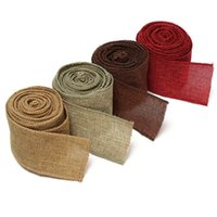 Wholesale Craft Wreaths Wholesale - Wholesale-5M Home Decoration Natural Linen Wedding Party Burlap Wreath Jute Burlap Ribbon Lace Craft Gift Wrap Rustic Fabric Supplies