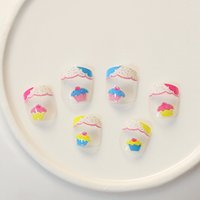 Wholesale Cakes False - Wholesale- For Kids Children New 24 pieces Colorful Cake 3D Fashion Cute Style Art Short Fake False Sticker Nail Tips Free Glue Gel [N705]