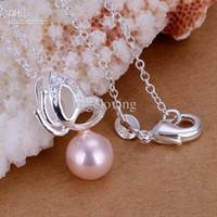 collares de perlas de color rosa caliente al por mayor-Deslumbrante regalo 925 plata rosa perla con mariposa colgante, collar de mujer collar 18