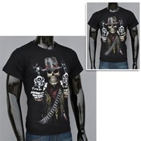 Wholesale Skeleton T - Funny T-shirt Fashion Mens 3D Skeleton Printing and Short Sleeve Creative T-shirt Hot Male Round Collar and Breathable Casual Shirt