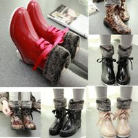 Wholesale Woman Rain Boots Cheap - CHEAP Winter Rain Boots For Women Boots With Bowknot Flowers Decorative Rain Shoes Jelly Boots Camellia PVC Water Rain shoes