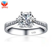 Wholesale Round Setting Diamond Ring 6mm - 2015 Hot Sale Wedding Rings for Women Luxury 18K White Gold Plated Jewelry Round Cut 6mm 1ct Cubic Zirconia Diamond Engagement Ring ZR22