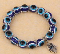 Wholesale Evil Eye Hand Charm - Fashion Turkey Evil Eye Bracelet Resins Beads Shamballa pendant Kabbalah Hand beaded bracelet strand elastic wristband charm jewelry gifts