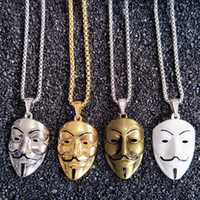 Wholesale Trendy Long Sweaters - New Fashion Trendy Long Necklace Sweater Chain for Men Personality Gold Plated Cracker Mask Necklace for Men NL-175